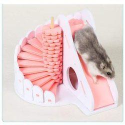 ADS Juguete Pequeño Hámster para Mascotas Sólido Y Ponible Fácil De Limpiar Escaleras Deslizamiento De Dos Pisos Ecológico Casa Hámster,Pink