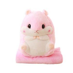 Azer Yc Hamster - Manta de peluche 2 en 1 para viaje, oficina, aire acondicionado, cama negra