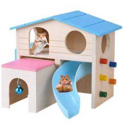 Petacc Hamster House - Cabina de madera para mascotas, diseño de animales pequeños, hámsters de lujo, creativo de dos capas para animales pequeños, equipado con cabina deslizante, estilo cajón, campana para colgar, escalera y escalada de pared