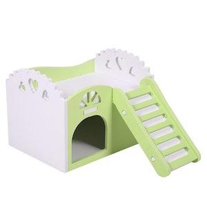 Castillo para animal doméstico, juguete, cuna para dormir, juguetes para ejercicio para hámsters, chinchillas, conejillos de Indias, de 2 plantas con 1 escalera