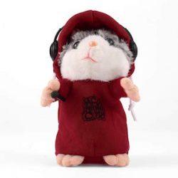 Delicacydex Precioso Lindo Interactivo Divertido Hablar música DJ hámster Juguete de Peluche Habla Hablar Sonido Registro Hamster Animal Juguete Educativo