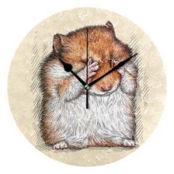 EZIOLY - Reloj de Pared con hámster Brillante, silencioso, DE 25,4 cm, no se Arruga, Funciona con Pilas, Redondo, para casa, Oficina, Escuela, Reloj