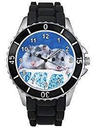 Hámster Unisex Reloj para hombre y mujer con correa de silicona negro