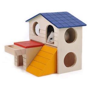 Hamter - Jaula de madera para ejercicio, hámster, hedgehog ratón, cobaya, jaula pequeña para mascotas, escondite para animales pequeños (casa de la vila)