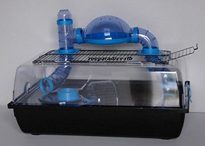 Jaula para roedores Alex Tuba, completo plástico, Teddy Lux, hámster, ratón, jaula, ratones, adolescente incl. Tubo Sistema En Azul