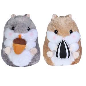 KOSBON Paquete de 2 10 pulgadas de hámster lindo de peluche, peluche suave animales cojín juguete, mejores regalos de cumpleaños para los niños. (Brown/Gray)