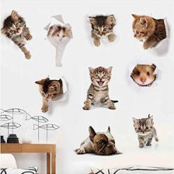 Knncch 3D Gatos Perros Hamster Etiqueta De La Pared Cuarto De Baño Para La Decoración Casera Kids Room Cute Animal Vinyl Decal Art Poster Hole View Toilet Stickers