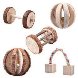 Leisuretime 5 Piezas Conjunto de Juguetes para Mascotas Little Pets Chew Toys de Madera Pine Dumbells Unicycle Bell Roller Chew Toy para Hamster