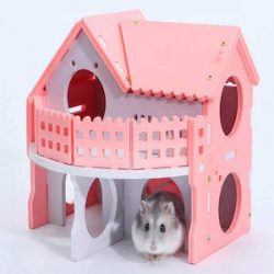 Mlec tech Casa de Hámster Castillo para Animal Doméstico Pequeños Doble Cubierta Casa para Dormir Juguete de Ejercicio para Hámster Enano y Ratón