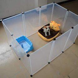 QNMM Animales Expandibles Pequeños Animales Parque De Juegos Combinación Libre De Perro Multifuncional Transparente Cerca Plegable Paneles Transparentes 8