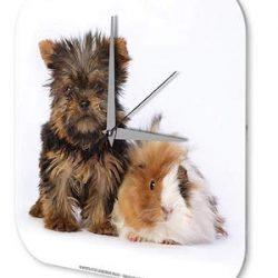 Reloj De Pared Cocina Marke Cachorro Terrier Hamster Plexiglas Imprimido 25x25 cm