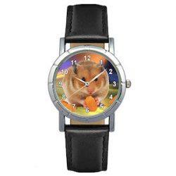 Timest - Hámster Reloj para Mujer con Correa de Cuero negro Analógico Cuarzo SA1780