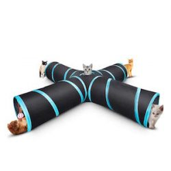 Wagsuyun Cat Tunnel Plegable Pet Game Tunnel Tube Toy con Bell Toy para Cachorros De Gato