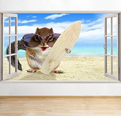 tekkdesigns B031 Hamster Funny Animal Pet surf playa pegatinas de pared de vinilo Póster 3d art VI (medio (52 x 30 cm))