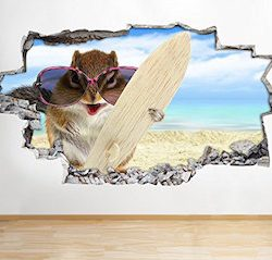 tekkdesigns B031 Hamster Funny Animal Pet surf playa pegatinas de pared de vinilo Póster 3d art (enorme (100 x 175 cm))